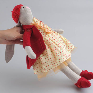 Stuffed handmade funny toy in shape of cute hare room decor idea children's gift