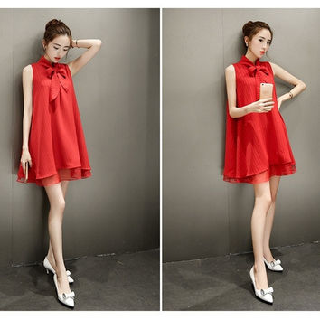 Red Organza & Chiffon Plus Size Dress Maternity Dress Sleeveless = 1704209668