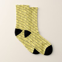 Funky Yellow Black Musical Notes Pattern Socks