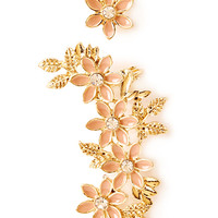 FOREVER 21 Flower Earcuff and Stud Set Peach/Gold One