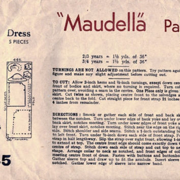 1930s Sewing Pattern. Girl's Smock Dress. Age 3 and 4. Vintage Rare Maudella Pattern 445.