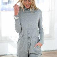 Causal Long Sleeve Drawstring Romper
