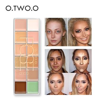 O.TWO.O Concealer Palette 12 Color Makeup Green Concealer Foundation Waterproof Brightener Makeup Highlighter Contour Cosmetics