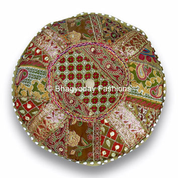 indian handmade Bohemian Patch work gypsy pouf ottoman vintage indian pouf floor foot stool, decorative hassock Floor Pillow cover gifts