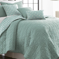 6 Piece Reversible Quilt Set Jade