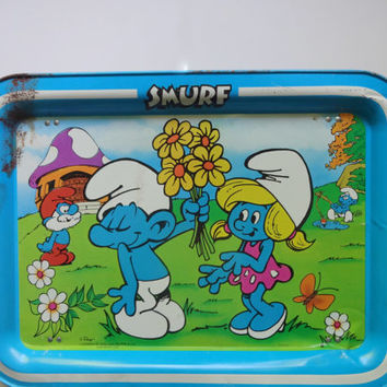 Vintage Smurfs TV Tray 1980s