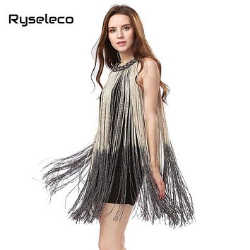 Lady Tank Ombre Draping Costume Metal Chain Neck Gradient Tassel Dresses Women Clothing 1920s Flapper Swing Fringe Mini Vestido