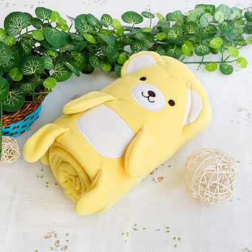 [Happy Bear - Yellow] Embroidered Applique Coral Fleece Baby Throw Blanket