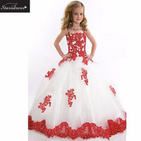 In Stock New Arrival Cute 2016 STD  Ball Gown Flower Girl Dresses Appliqued Beaded  Little Girl Pageant  For Wedding Party Gown