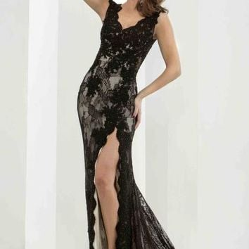 Jasz Couture Fitted Lace Dress 5663