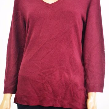 Karen Scott Women's V-Neck 3/4-Sleeves Red Rib Trim Knit Sweater Top L