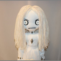 OOAK Spooky Ghost Dead Rag Doll Creepy Gothic Halloween Folk Art By Jodi Cain
