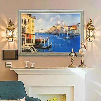 Canvas oil Painting Venice Painting Venice Cityscape italy art  Wall art pictures for living room home decor hand painted modern painting