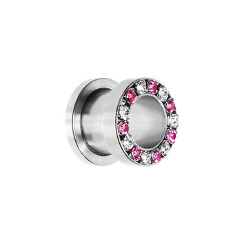 00 Gauge Stainless Steel Pink Clear Gem Screw Fit Tunnel