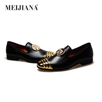 MeiJiaNa Slip On Flats Loafers Male Shoes Fashionable Mens Casual Patent Leather Shoes