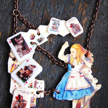 Alice In Wonderland Queen of Hearts Statement Necklace Shower of Cards Jewerly for Her