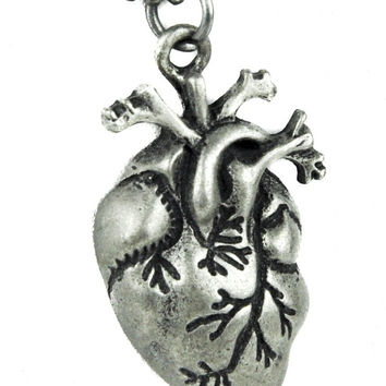 Human Anatomival Heart Necklace Silver