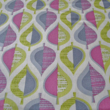 Leaf Fabric Pink Green Gray by Free Spirit Remnant of 1 2/3 yards