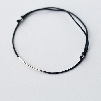 "Real. 925 Sterling Silver Jewelry Black Cord  & ""Smile"" Bar Thin Tube Lucky Bar chain bracelet Thin adjustable GTLS340"