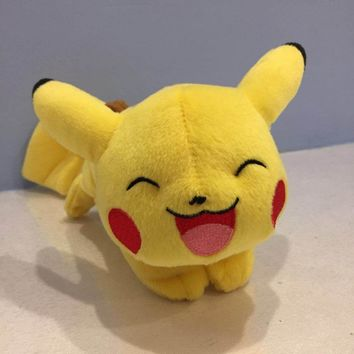 Pikachu Plush [Laying Down, Closed Eyes, Open Mouth] Soft Stuffed Plush Toy