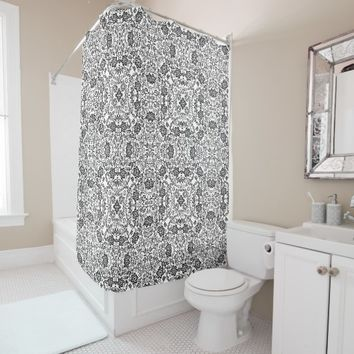 Black White Floral Kaleidoscope Mosaic Pattern Shower Curtain