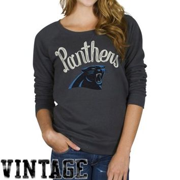 Junk Food Carolina Panthers Ladies Field Goal Crew Fleece Sweatshirt - Black