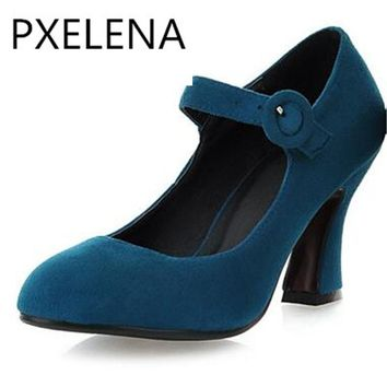 PXELENA Retro Elegant Womens Mary Janes Kitten Heels Faux Suede Nubuck Leather Strappy Ladies High Heels Shoes Pumps Plus Size