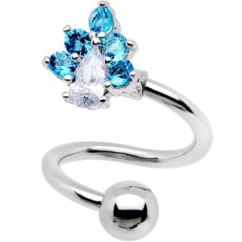 Clear Aqua CZ Gem Puppy Paw Spiral Twister Top Mount Belly Ring