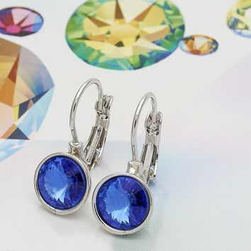 Rhodium Layered Women Leverback Earring, with Bermuda Blue Swarovski Crystals, by Folks Jewelry