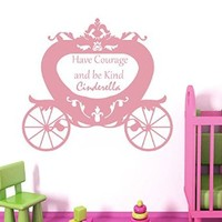 Cinderella Wall Decal Quotes Have Courage and Be Kind Disney Vinil Sticker Girl Nursery Home Bedroom Decor Ds349