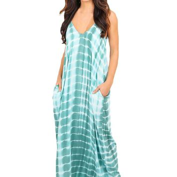 Chicloth Mint Tie Dye Print Boho Pocketed Maxi Dress
