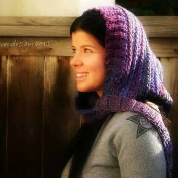 Crochet Chunky Extra Large Pixie Hood - Purple and Blue - Womens Pixie Hat - Womens hat - Winter - Hooded Scarf