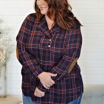 * Alissa Curvy Plaid Top With Elbow Patches : Red/Blue