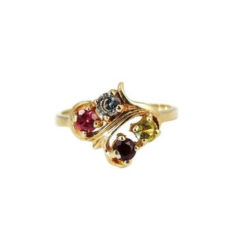 14k Gold Rainbow Gemstone Ring Vintage Birthstone Mother's Ring