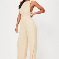 Missguided - Tall Nude Pleated Drop Armhole Jumpsuit