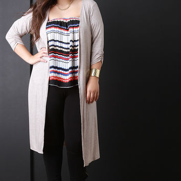 Ribbed Knit Longline Open Front Cardigan