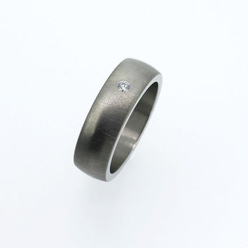 Men's palladium wedding band with diamond, modern wedding band, men diamond ring, custom, matte, wide, men palladium, contemporary