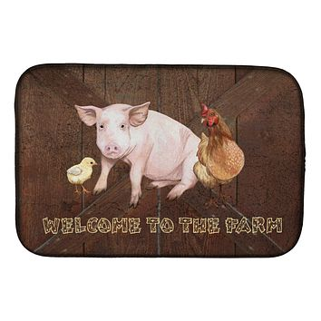 Welcome to the Farm with the pig and chicken Dish Drying Mat SB3083DDM