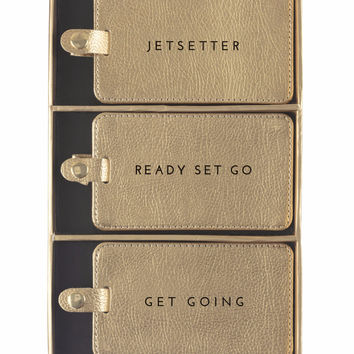 Jetsetter Set of 3 Gold Shimmer Luggage Tags in Gift Box