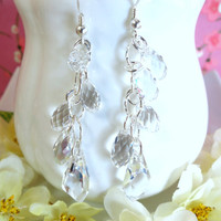 Swarovski crystal sterling silver chandelier earrings, clear crystal chandelier earrings