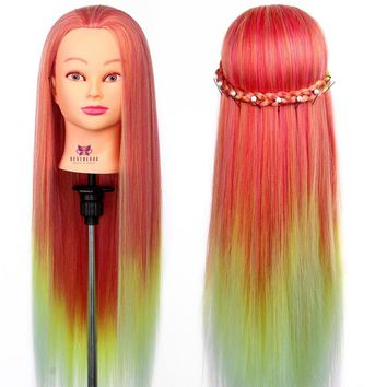 "26"" Hair Hairdressing Training Head Dummy Model Mannequin Synthetic Hair Cut Salon Practice"