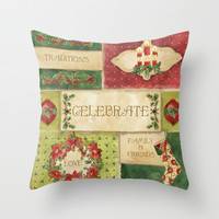 Celebrate Christmas Traditions Vintage Style Collage, Joy, love, family & friends Throw Pillow by Audrey Jeannes