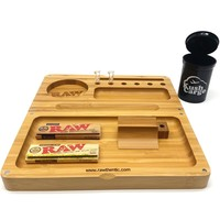 RAW Backflip Bamboo Rolling Tray + RAW Glass Tips + RAW Rolling Papers