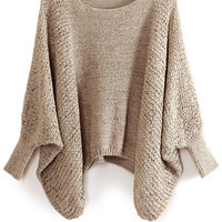 Solid Color Bat-Wing Sleeve Sweater