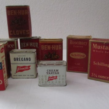 14-1014 Ten Vintage Spice Tins and Boxes / Ben Hur Spice Tin / Schilling Spice Can / French's Spices / Home Decor / Display / Prop