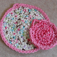 Round Kitchen Scrub & Dish Wash Cloth Pink White+ Crochet Set