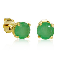 10K Yellow Gold 5mm Natural Emerald Stud Earrings