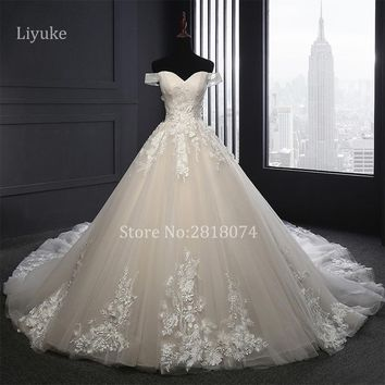 Vestidos De Novia Real Photo A-line Wedding Dresses 2018 Sweetheart  Robe De Mariage Wedding Gowns  With Lace Appliques