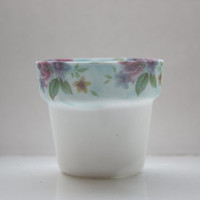 Small planter from fine bone china with blue rim and vintage flowers illustrations - illustrated ceramics