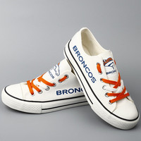 Denver Broncos Sneakers White Broncos Tennis shoes